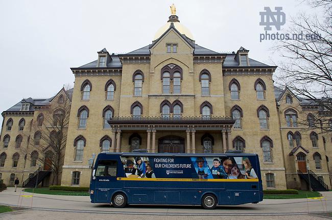 Apr 17, 2013; Alliance for Catholic Education bus.  Photo by Barbara Johnston/ University of Notre Dame