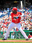 20 June 2010: Washington Nationals' infielder Cristian Guzman at bat against the Chicago White Sox at Nationals Park in Washington, DC. The Nationals were swept by the White Sox falling 6-3 in the last game of their 3-game interleague series. Mandatory Credit: Ed Wolfstein Photo