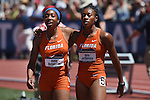 13 JUNE 2015: Robin Reynolds and Kyra Jefferson of Florida celebrate after winning the Women's 4X100 meter relay during the Division I Men's and Women's Outdoor Track & Field Championship held at Hayward Field in Eugene, OR. Florida won the race in a time of 42.95. Steve Dykes/ NCAA Photos