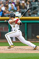 Ryan LaMarre (14) of the Salt Lake Bees follows through on his swing against the Sacramento River Cats during the Pacific Coast League game at Smith's Ballpark on August 11, 2017 in Salt Lake City, Utah.The River Cats defeated the Bees 8-7. (Stephen Smith/Four Seam Images)