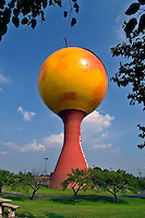 """The """"""""Peachoid"""""""" water tower, in Gaffney, South Carolina.  With a capacity of 1 million gallons, the design won the Steel Plate Fabricators Association """"""""Steel Tank of the Year"""""""" award, in 1981.  Designed by Peter Freudenberg."""