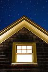 Cottage window at night.