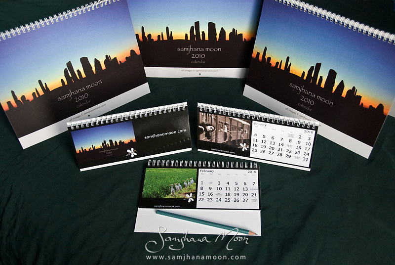 Images from Samjhana's travels around the World. Printed on quality glossy card<br /> With standard UK and Pagan Holidays and Moon Cycles...<br /> Signed by the Artist (with personal message on request)<br /> ............ Wall Calendars: &pound;12 + &pound;3 p&amp;p - 28cm x 22cm (11&quot;x 9&quot;) Closed size - roughly magazine size..................... Desk Calendars: &pound;8 + &pound;2 p&amp;p - 21cm x 10cm (8.25&quot; x 4&quot;) Free Standing