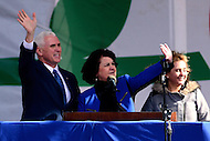 Washington, DC - January 27, 2017: Vice President Mike Pence, along with his wife Karen and daughter, waves to the crowd gathered on the National Mall for the annual March for Life Rally on the District of Columbia, January 27, 2017. Pence is the highest ranking government official to ever address the rally. (Photo by Don Baxter/Media Images International)