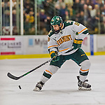 20 February 2016: University of Vermont Catamount Defenseman Alexx Privitera, a Senior from Old Tappan, NJ, in second period action against the Boston College Eagles at Gutterson Fieldhouse in Burlington, Vermont. The Eagles defeated the Catamounts 4-1 in the second game of their weekend series. Mandatory Credit: Ed Wolfstein Photo *** RAW (NEF) Image File Available ***