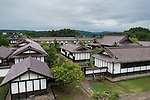 Photo shows the main buildings of the Nishinkan complex in Aizuwakamatsu City, Fukushima Prefecture, Japan. Nishinkan was a school for the sons of the region's samurai. Photographer: Rob Gilhooly