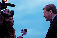 Jim Lantry of San Diegans for Safe Beaches is interviewed by local TV reporter Sasha Foo during a rally in support of the alcohol ban at Mission Beach on Friday, January 4 2007.