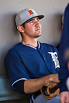 16 March 2014: Detroit Tigers infielder Nick Castellanos sits in the dugout prior to a Spring Training Game against the Washington Nationals at Space Coast Stadium in Viera, Florida. The Tigers edged out the Nationals 2-1 in Grapefruit League play. Mandatory Credit: Ed Wolfstein Photo *** RAW (NEF) Image File Available ***