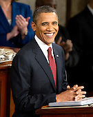 United States President Barack Obama smiles as he prepares to deliver his State of the Union Address to a Joint Session of Congress in the U.S. Capitol in Washington, D.C., Tuesday, January 24, 2012..Credit: Ron Sachs / CNP