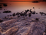Beautiful twilight scenery of rocks on a shore of Georgian Bay, Muskoka, Ontario, Canada