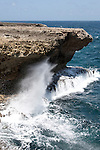 Washington Slagbaai National Park, Bonaire, Netherlands Antilles; the blow hole sprays water into the air with each crashing wave , Copyright © Matthew Meier, matthewmeierphoto.com All Rights Reserved