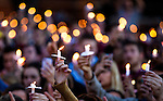 Commissioned by Getty Images<br /> <br /> <br /> TALLAHASSEE, FL- NOVEMBER 20, 2014: Florida State University students hold their candles aloft at the Gathering of Unity candlelight vigil held after the shooting of three students on the FSU campus earlier in the day.  &quot;About 3,000 students&quot; attended the vigil according to FSU Police Chief David Perry.  (Photo by Mark Wallheiser/Getty Images)