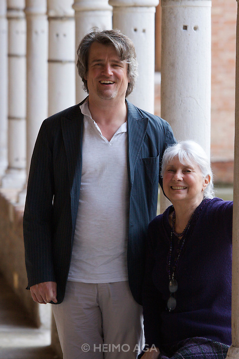 """Giudecca. Fondazione Archivio Luigi Nono. Conductor Ingo Metzmacher, who will supervise Luigi Nono's """"Al gran sole carico d'amore"""" at the Salzburg Festival 2009, with Luigi Nono's widow Nuria Schoenberg Nono."""