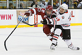 Matt McCollem (Harvard - 23), Wade MacLeod (Northeastern - 19) - The Northeastern University Huskies defeated the Harvard University Crimson 4-0 in their Beanpot opener on Monday, February 7, 2011, at TD Garden in Boston, Massachusetts.