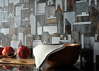 Cityscape, a water jet glass mosaic shown in Pearl, Lavastone, and Tourmaline, is part of the Erin Adams Collection for New Ravenna Mosaics.