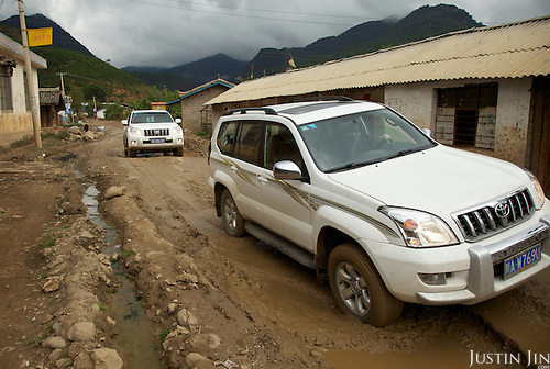 Rock falls and broken roads in Yunnan province.