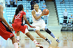 05 December 2012: North Carolina's Latifah Coleman (right) is defended by Radford's Da'Naria Erwin Spencer (22). The University of North Carolina Tar Heels played the Radford University Highlanders at Carmichael Arena in Chapel Hill, North Carolina in an NCAA Division I Women's Basketball game. UNC won the game 64-44.