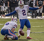 Buffalo Bills kicker Dan Carpenter (2) kicks field goal on Sunday, December 04, 2016, at O.co Coliseum in Oakland, California.  The Raiders defeated the Bills 38-24.