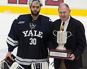 Patrick Spano (Yale - 30), Ben Smith - The Harvard University Crimson tied the visiting Yale University Bulldogs 1-1 on Saturday, January 21, 2017, at the Bright-Landry Hockey Center in Boston, Massachusetts.