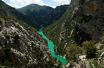 View of valley and river of Gorges du Verdon, Provence, Europes largest canyon, 700m deep in places, emerald green River Verdon, limestone cliffs, southern Haute-Provence, Parc Naturel Regional du Verdon.France....