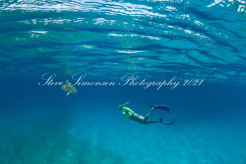 Snorkeler with Green Sea Turtle<br />