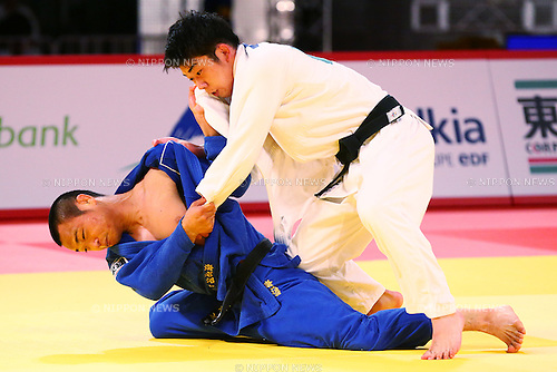 (L-R) Masashi Ebinuma, Tomofumi Takajyo (JPN),<br /> DECEMBER 4, 2015 - Judo : <br />  IJF Grand Slam Tokyo 2015 International Judo Tournament<br /> Men's -66kg Final <br /> at Tokyo Metropolitan Gymnasium, Tokyo, Japan. <br /> (Photo by Shingo Ito/AFLO SPORT)