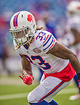 14 September 2014: Buffalo Bills cornerback Ron Brooks warms up prior to facing the Miami Dolphins at Ralph Wilson Stadium in Orchard Park, NY. The Bills defeated the Dolphins 29-10 to win their home opener and start the season with a 2-0 record. Mandatory Credit: Ed Wolfstein Photo *** RAW (NEF) Image File Available ***