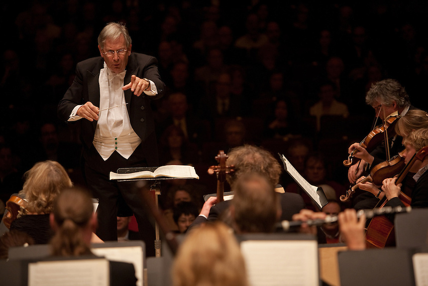 Sir John Eliot Gardiner conducts Orchestre Revolutionnaire et Romantique performing Overture to Egmont, Op. 84, at the Isaac Stern Auditorium at Carnegie Hall in Manhattan, NY on November 16, 2011.