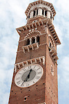 Looking up at the Lamberti Tower in Verona, Italy.