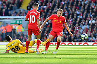 Crystal Palace's Luka Milivojevic is tackled by Liverpool's Lucas Leiva<br /> <br /> Photographer Terry Donnelly/CameraSport<br /> <br /> The Premier League - Liverpool v Crystal Palace - Sunday 23rd April 2017 - Anfield - Liverpool<br /> <br /> World Copyright &copy; 2017 CameraSport. All rights reserved. 43 Linden Ave. Countesthorpe. Leicester. England. LE8 5PG - Tel: +44 (0) 116 277 4147 - admin@camerasport.com - www.camerasport.com