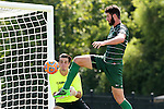20 September 2015: Stetson's David Caulfield (right) tries to deflect the ball past Campbell's Matthew Mozynski (behind). The Campbell University Camels hosted the Stetson University Hatters at Eakes Athletics Complex in Buies Creek, NC in a 2015 NCAA Division I Men's Soccer game. Campbell won the game 1-0.