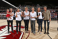 STANFORD, CA - October 7, 2016: Stanford Women's Volleyball over Colorado, 3-1 at Maples Pavilion. Players from Stanford's first varsity team (1976).