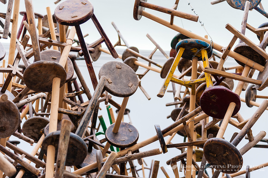 Italy, Venice. Art at the Venice Biennale. Chair installation by Ai Weiwei.