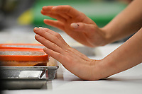 Modena, 23 February 2017 – A chef's hands in the kitchen during a lunch service at Osteria Francescana, Modena, Italy. Photo Sydney Low