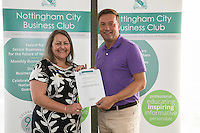Nearest the 12th pin sponsor NCBC's Deborah Labbate with winner Nigel Johnson
