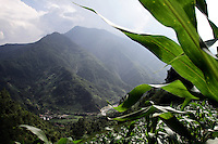 A view of the mountainous forests of Pingwu County in northern Sichuan Province, south-west China.