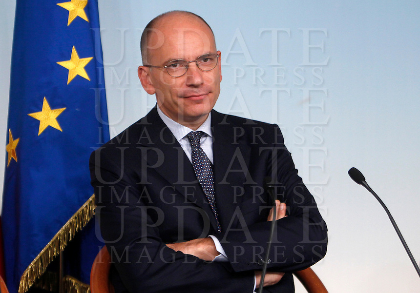 Il Presidente del Consiglio Enrico Letta durante la conferenza stampa al termine del Consiglio dei Ministri a Palazzo Chigi, Roma, 19 settembre 2013.<br /> Italian Premier Enrico Letta looks on during a press conference at the end of a cabinet meeting at Chigi Palace, Rome 19 September 2013.<br /> UPDATE IMAGES PRESS/Isabella Bonotto<br /> Il Presidente del Consiglio Enrico Letta durante la conferenza stampa al termine del Consiglio dei Ministri a Palazzo Chigi, Roma, 19 settembre 2013.<br /> Italian Premier Enrico Letta attends a press conference at the end of a cabinet meeting at Chigi Palace, Rome 19 September 2013.<br /> UPDATE IMAGES PRESS/Isabella Bonotto<br /> Il Presidente del Consiglio Enrico Letta durante la conferenza stampa al termine del Consiglio dei Ministri a Palazzo Chigi, Roma, 19 settembre 2013.<br /> Italian Premier Enrico Letta attends a press conference at the end of a cabinet meeting at Chigi Palace, Rome 19 September 2013.<br /> UPDATE IMAGES PRESS/Isabella Bonotto