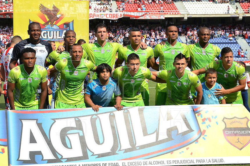 BARRANQUIILLA -COLOMBIA-28-02-2016: Jugadores de Jaguares FC posa  para una foto previo al partido con Atlético Junior por la fecha 7 de la Liga Águila I 2016 jugado en el estadio Metropolitano Roberto Meléndez de la ciudad de Barranquilla./ Players of Jaguares FC pose to a photo prior a match against Atletico Junior for the date 7 of the Aguila League I 2016 played at Metropolitano Roberto Melendez stadium in Barranquilla city.  Photo: VizzorImage/ Alfonso Cervantes /Cont