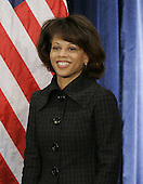 Chicago, IL - November 24, 2008 -- White House Domestic Policy Council Director-designate Melody Barnes stands at a news conference where President-elect Barak Obama introduced his economic team during a news conference on Monday, November 24, 2008 in Chicago. Obama also introduced Treasury Secretary-designate Timothy Geithner, National Economic Council Director-designate Lawrence Summers and Council of Economic Advisers Chair-designate Christina Romer. .Credit: Brian Kersey - Pool via CNP