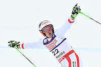 February 17, 2017: Roland LEITINGER (AUT) reacts after his second run with a time giving him the lead in the men's giant slalom event at the FIS Alpine World Ski Championships at St Moritz, Switzerland. Photo Sydney Low