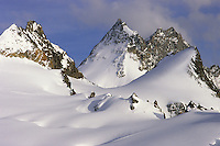 Dent de Bertol and Bouquetins d'Arolla from Cabane Bertol (3311 m), Valais, Switzerland, 2011.