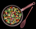 X-ray image of stir fry (color on black) by Jim Wehtje, specialist in x-ray art and design images.