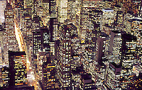 USA, New York, New York City. Manhattan skyline at night