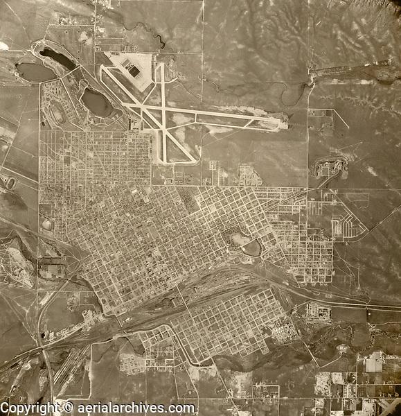 historical aerial photograph Cheyenne, Wyoming, 1947