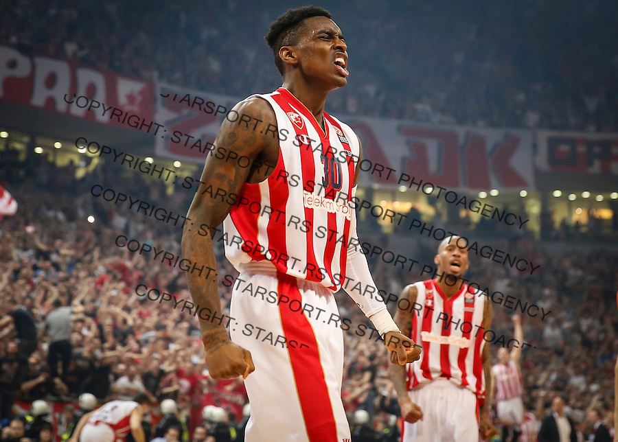 Kosarka Euroleague season 2015-2016<br /> Euroleague Top 16<br /> Crvena Zvezda v Panathinaikos<br /> Quincy Miller (L) and Tarence Kinsey react<br /> Beograd, 11.03.2016.<br /> foto: Srdjan Stevanovic/Starsportphoto &copy;