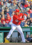 2 April 2011: Washington Nationals outfielder Laynce Nix in action against the Atlanta Braves at Nationals Park in Washington, District of Columbia. The Nationals defeated the Braves 6-3 in the second game of their season opening series. Mandatory Credit: Ed Wolfstein Photo