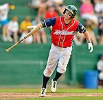 4 July 2012: Vermont Lake Monsters infielder Sam Roberts takes his base during action against the Hudson Valley Renegades at Centennial Field in Burlington, Vermont. The Lake Monsters edged out the Renegades the Cyclones 2-1 in NY Penn League action. Mandatory Credit: Ed Wolfstein Photo