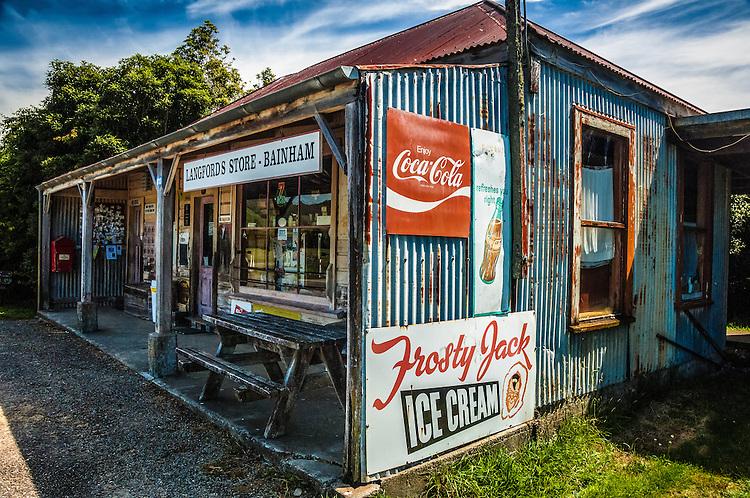 Rustic (and rusty) dliapidated store at Bainham, Golden Bay. New Zealand - photo, canvas, fine art print