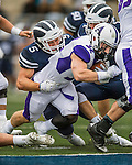 8 October 2016: Amherst College Purple & White Running Back Jack Hickey, a Sophomore from Melrose, MA, breaks the goal line as Middlebury College Panther Linebacker Wesley Becton, a Junior from Elmhurst, IL, attempts to hold back the touchdown at Alumni Stadium in Middlebury, Vermont. The Panthers edged out the Purple & While 27-26. Mandatory Credit: Ed Wolfstein Photo *** RAW (NEF) Image File Available ***