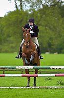 Young male rider competing in showjumping event Cotswolds, Oxfordshire, UK